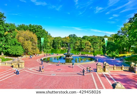 View of the Bethesda Fountain in the Central Park, New York City. - stock photo