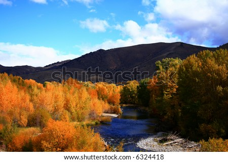 View of the Big Wood River south of Ketchum Idaho, autumn - stock photo