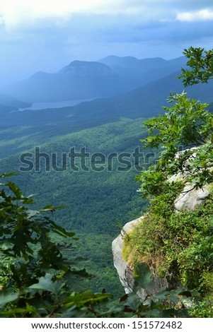 View of the Blue Ridge Mountains from Caesar's Head Rock Formation - stock photo