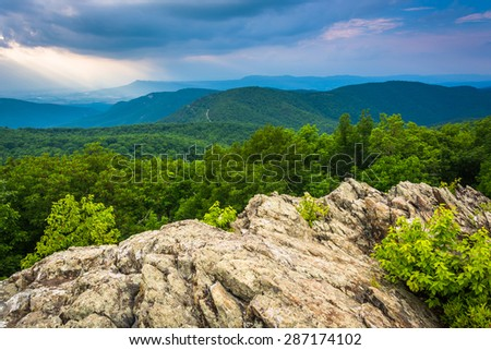 View of the Blue Ridge Mountains from Loft Mountain in Shenandoah National Park, Virginia. - stock photo