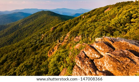 View of the Blue Ridge Mountains from the Pinnacle, along the Appalachian Trail in Shenandoah National Park, Virginia - stock photo