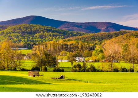 View of the Blue Ridge Mountains from the Shenandoah Valley, Virginia. - stock photo