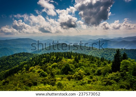 View of the Blue Ridge Mountains seen from Cowee Mountains Overlook on the Blue Ridge Parkway in North Carolina. - stock photo