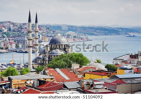 View of the Bosphorus and districts Eminonu and Beyoglu in Istanbul, Turkey - stock photo