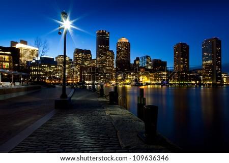 View of the Boston Harbor in Massachusetts, USA at sunset. - stock photo