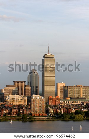 View of the Boston, MA Skyline of Back Bay, including the landmark Prudential Tower. Seen from near Kendall/MIT across the Charles river in Cambridge, MA. - stock photo