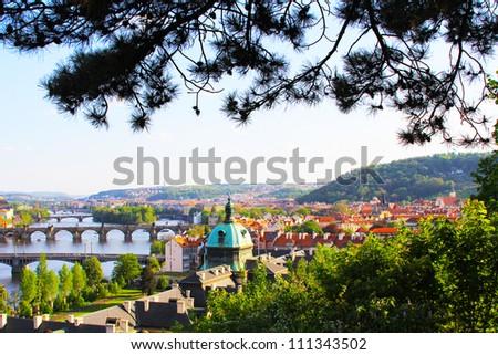 View of the bridge in Prague, Czech Republic - stock photo