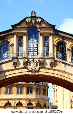View of the Bridge of Sighs along New College Lane which links two parts of Hertford College, Oxford, Oxfordshire, England, UK, Western Europe. - stock photo