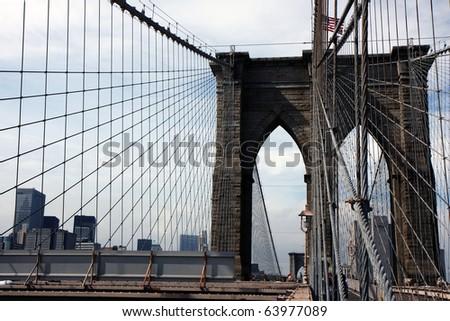View of the Brooklyn bridge in New York - stock photo