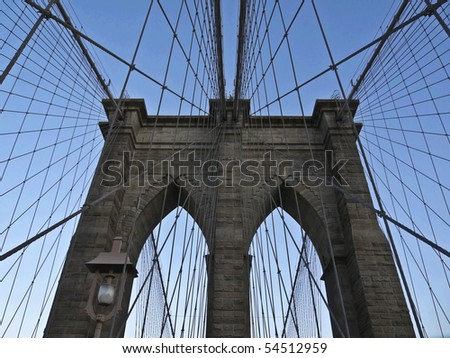view of the Brooklyn Bridge in New York City - stock photo