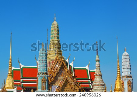 view of the Buddhist Temple Wat Phra Kaew, one of the main landmarks of Bangkok, Thailand - stock photo