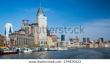 View of the bund, shanghai, china from the river - stock photo