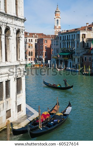 View of the Camerlenghi Palace from Rialto bridge located at Venice, Italy - stock photo