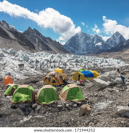 View of the camp of climbers on Khumbu glacier near EBC - Nepal, Himalayas - stock photo