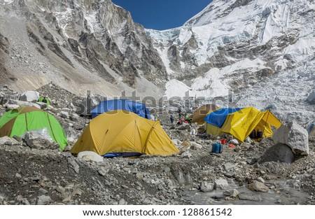 View of the camp of climbers on Khumbu glacier near legendary place EBC - Nepal, Himalayas - stock photo