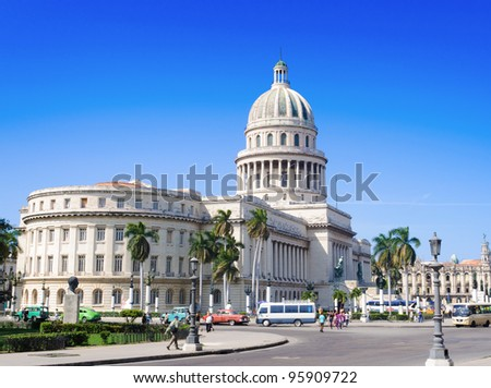 view of the Capitol in Havana on a beautiful cloudless day - stock photo
