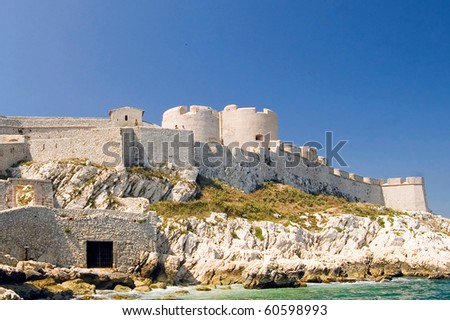 View of the castle on the Mediterranean Sea island Chateau d'If of below - stock photo