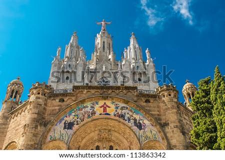 View of the cathedral in Barcelona Spain, Templo del Sagrado Corazn de Jesus, Cim del Tibidabo - stock photo