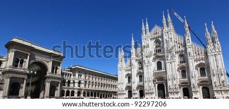 View of the cathedral of Duomo and Vittorio Emanuele II gallery, Milano, Italy - stock photo
