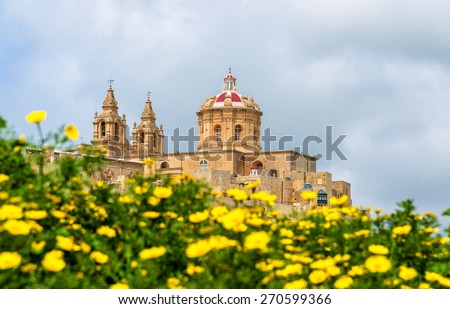 View of the Cathedral of St. Paul in Mdina - Malta - stock photo