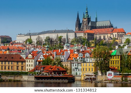 View of the Cathedral of St. Vitus, the Vltava River, Prague, Czech Republic. - stock photo