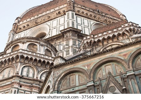 "View of The Cattedrale di Santa Maria del Fiore (English, ""Cathedral of Saint Mary of the Flower"") is the main church of Florence, Italy. Il Duomo di Firenze, as it is ordinarily called."