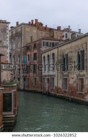 View of the channels and old palaces in Venice in the morning -  7