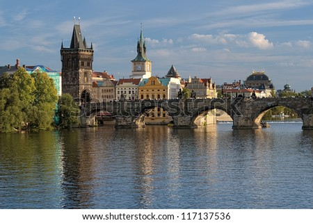 View of the Charles Bridge at the end of a summer day, Prague, Czech Republic - stock photo