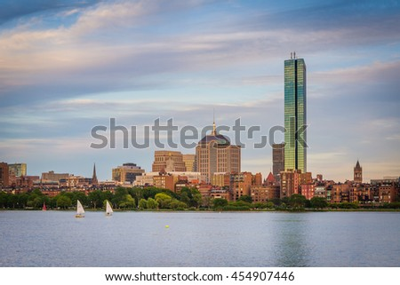 View of the Charles River and  buildings in Back Bay at sunset from Cambridge, Massachusetts.
