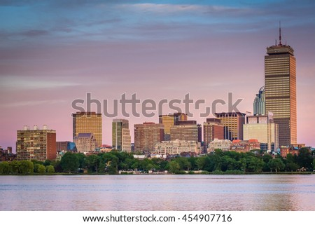 View of the Charles River and  buildings in Back Bay at sunset from Cambridge, Massachusetts. - stock photo