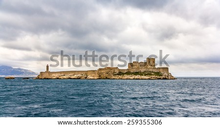 View of the Chateau d'If in the Mediterranean sea - France - stock photo