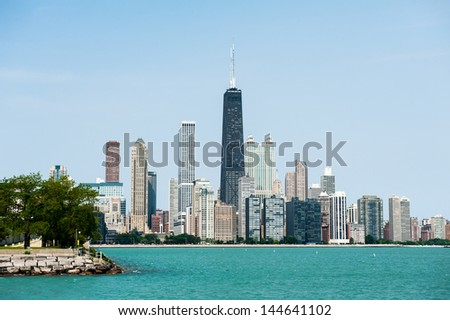 View of the Chicago skyline from Lake Michigan - stock photo