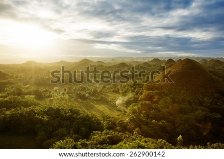 View of The Chocolate Hills. Bohol, Philippines - stock photo
