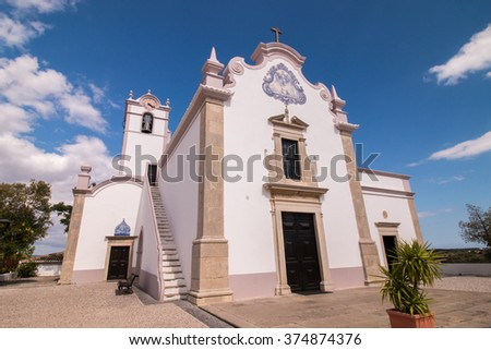 View of the Christian church of Lorenzo located in Loule, Portugal.