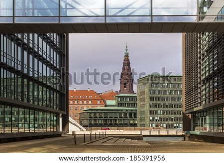 view of the Christiansborg Palace tower from channel other side, Copenhagen - stock photo
