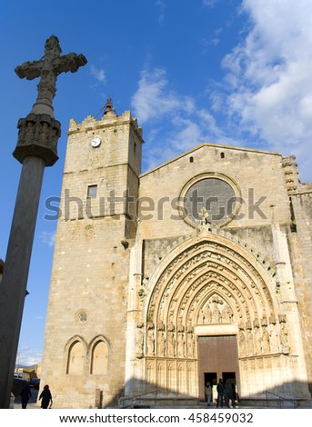 View of the church of Castellon de Empuries.Catalonia.Spain - stock photo