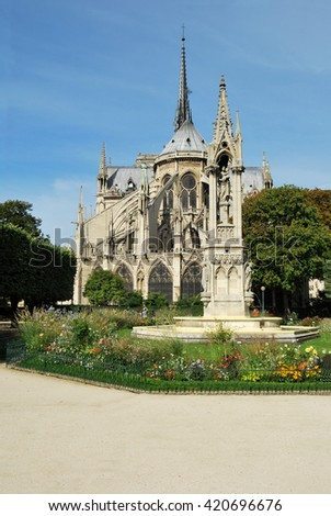 View of the church of Notre Dame in Paris and the rear of the gardens - stock photo