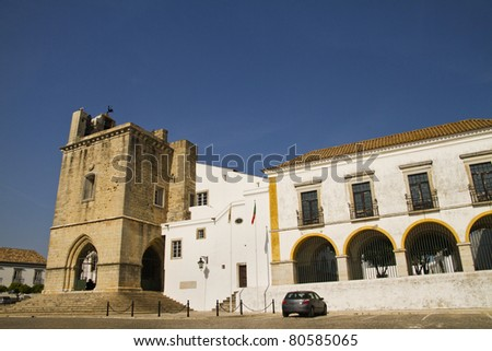 View of the Church of Se located on the historical area of Faro, Portugal.