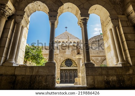 View of the Church of the Nativity Bethlehem, Jerusalem, Israel - stock photo