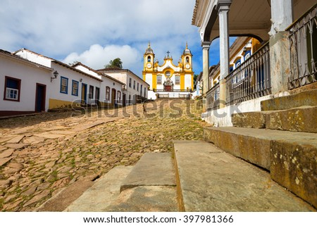 view of the church with streets of the famous historical town Tiradentes, Minas Gerais, Brazil  - stock photo