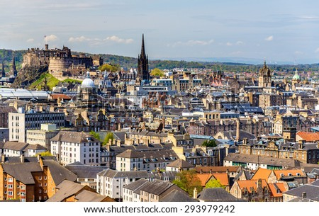 View of the city centre of Edinburgh - Scotland - stock photo