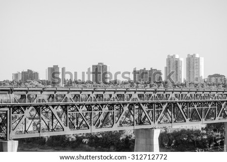View of the city centre of Egmonton in Canada in black and white - stock photo