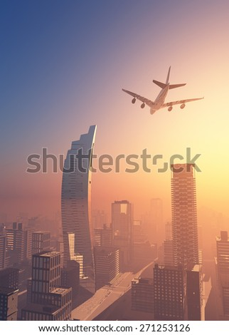 View of the city from above. - stock photo