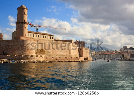 view of the city from the sea, Fort Saint Jean in Marseille - stock photo