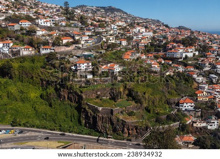View of the city.  Funchal, Madeira island, Portugal - stock photo