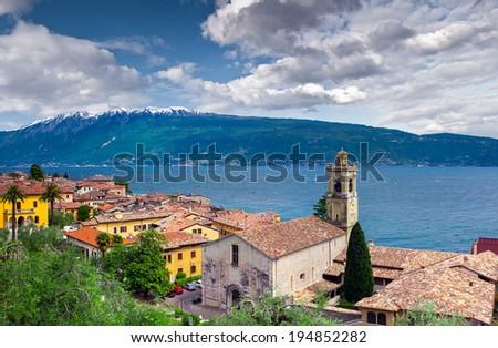 View of the city Gargnano and lake Garda, Italy, the Alps. - stock photo