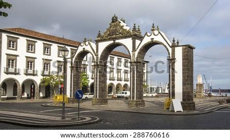 View of the city gates in Ponta Delgada, Azores, Portugal. - stock photo