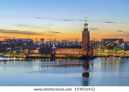 view of the City Hall of Stockholm from the Sodermalm island, Sweden - stock photo