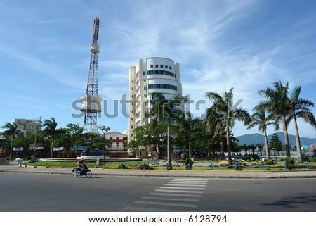 View of the city life in Da Nang, Vietnam - stock photo