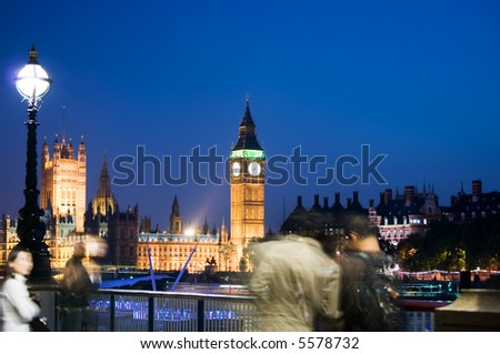 view of the city life with the big ben as background
